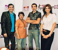 <STRONG>Eat up:</STRONG> (L�R) Sanjeev Kapoor, Shatbhi Basu, Nikhil Chib, Zeba Kohli; (R) the pannelists in a heady discussion