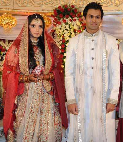 Sania Mirza and Shoaib Malik at their wedding