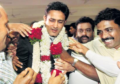 Anil Kumble's supporters are ecstatic after his victory in the KSCA polls in Bangalore on Sunday.