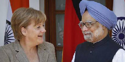 German chancellor Angela Merkel with Prime Minister Manmohan Singh
