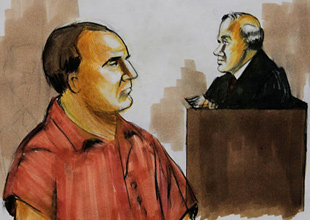 A sketch of David Headley's trial in the US