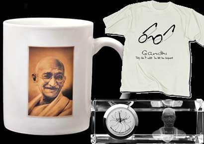 Merchandise sporting Mahatma Gandhi