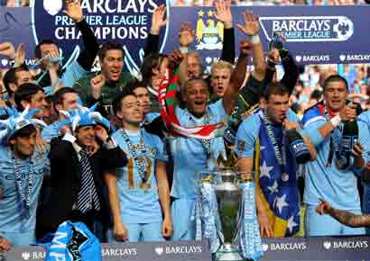 Manchester City team celebrate win