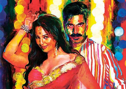 A hand-painted poster of <i>Rowdy Rathore</i>