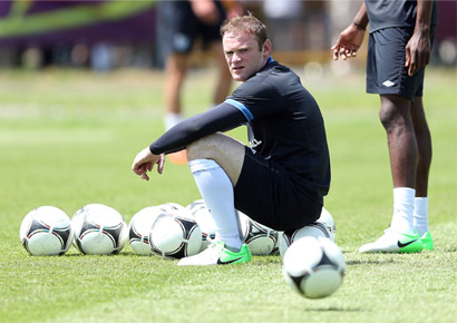 Wayne Rooney during an England training session ahead of UEFA Euro 2012 on June 8, 2012 in Krakow, Poland