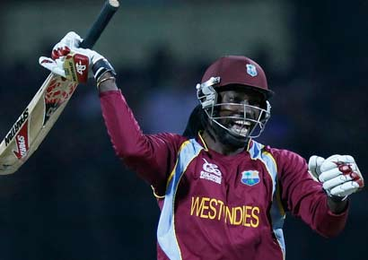 Chris Gayle celebrates after West Indies defeated New Zealand