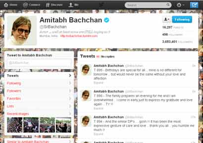 A view of Amitabh Bachchan's twitter account