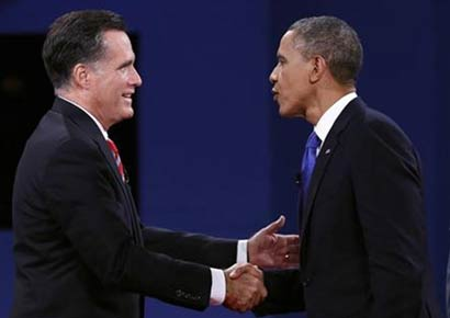 US President Barack Obama and Republican challenger Mitt Romney 