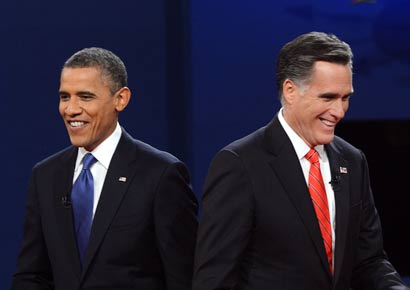 President Barack Obama and his rival Mitt Romney