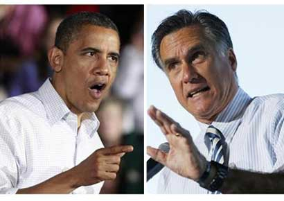 A combination file photographs shows Barack Obama (L) speaking during a campaign rally in Mentor, Ohio and Mitt Romney speaking at a campaign rally in Tampa, Florida