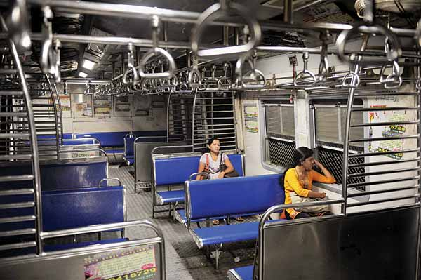 An empty ladies' compartment, Churchgate train at 8: 30