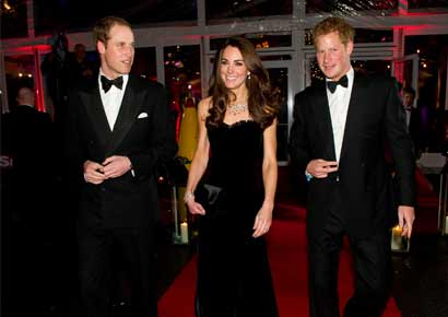Prince William with Prince Harry and Kate Middleton