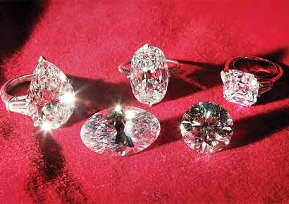 (Left to right) Pear, Baguette, Asscher, Round, Brilliant and an Oval Cut