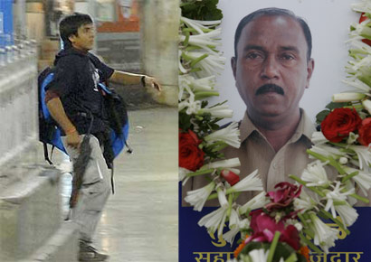 (L) Mohd Ajmal Kasab during the Mumbai attack on November 26, 2008. (R) Tukaram Ombale, the Mumbai Police assistant sub-inspector Tukaram Ombale, who lost his life while capturing Kasab alive.