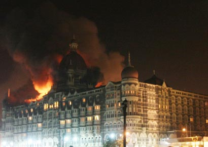A file photo of fire at Taj Mahal hotel after the terror attack