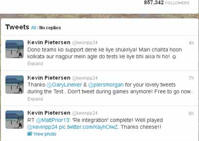 A screenshot of Kevin Pietersen's twitter account