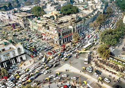 A traffic jam in New Delhi�s Connaught Place.