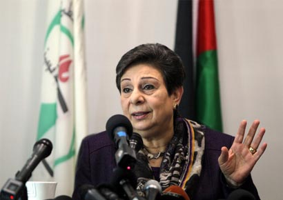 Palestine Liberation Organisation executive committe member Hanan Ashrawi addresses a press conference on the Palestinian bid to become a non-member state in the United Nations on Wednesday.