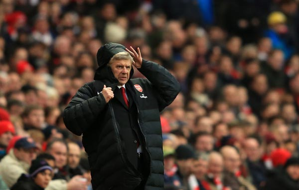 Arsenal manager Arsene Wenger during the Barclays Premier League match between Arsenal and Swansea City at Emirates Stadium on Saturday.