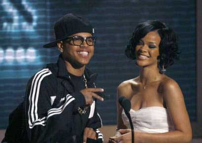 Chris Brown with Rihanna in 2009