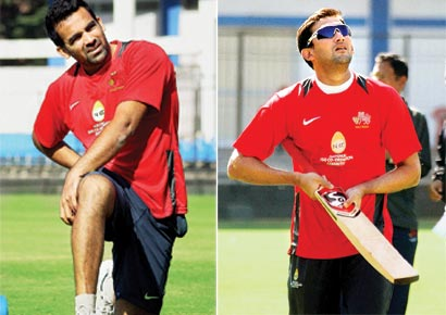 Zaheer Khan (left) and Ajit Agarkar during Mumbai's practice session on the eve of their Group A match against MP in Indore on Friday.
