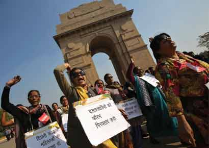 Women protest at India Gate