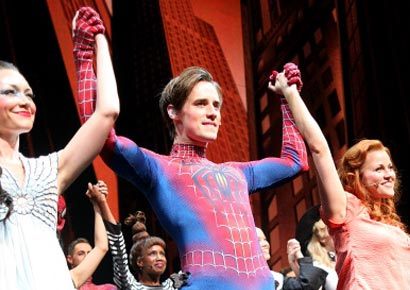 Reeve Carney during the curtain call of Patrick Page's final performance of Broadway's <i>Spider-Man Turn Off The Dark</i> at New York's Foxwoods Theatre on August 5, 2012.