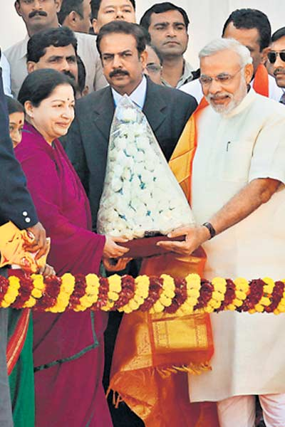 Modi with J Jayalalitha.