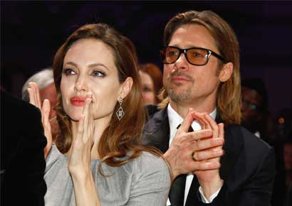Actors Brad Pitt and Angelina Jolie at  the Cinema for Peace Gala ceremony at the Konzerthaus Am Gendarmenmarkt during the 62nd Berlin International Film Festival