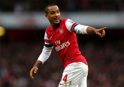 Theo Walcott of Arsenal celebrates his goal during the Barclays Premier league match against Tottenham Hotspur at Emirates Stadium on November 17, 2012.
