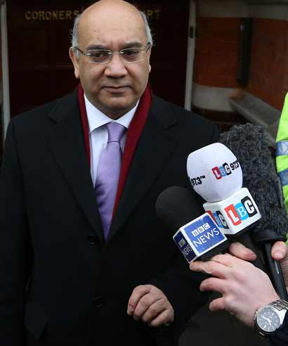 Member of Parliament Keith Vaz talks to reporters on behalf of the Saldanha family at Westminster Coroner's Court on December 13, 2012 in London