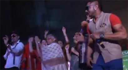 A screenshot of the Delhi chief minister dancing on stage