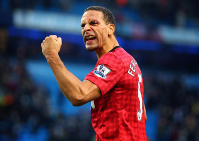 Rio Ferdinand of Manchester United celebrates at the end of the Barclays Premier League match between Manchester City and Manchester United at Etihad Stadium (Manchester) on December 9, 2012.