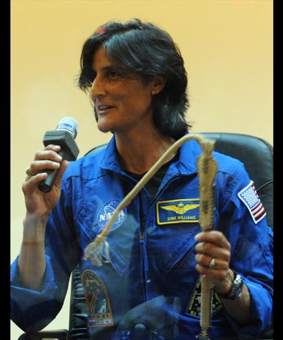 US astronaut Sunita Williams addresses the media at Baikonur cosmodrome on July 13, 2012, two days before she along with her crew is due to blast off to the International Space Station from Baikonur cosmodrome on July 15.