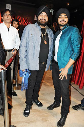 Daler Mehndi with son Gurdeep at the latter�s debut film