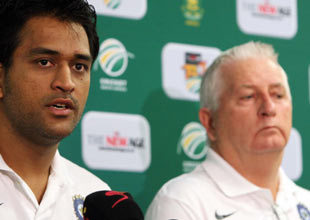 A file photo of MS Dhoni with coach Duncan Fletcher.