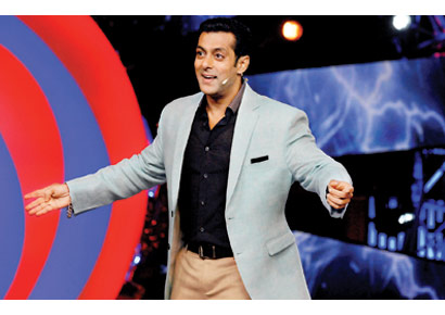Actor Salman Khan on the sets of <i>Bigg Boss</i>
