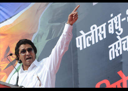 Maharashtra Navinirman Sena chief Raj Thackeray addresses a public rally in Mumbai.