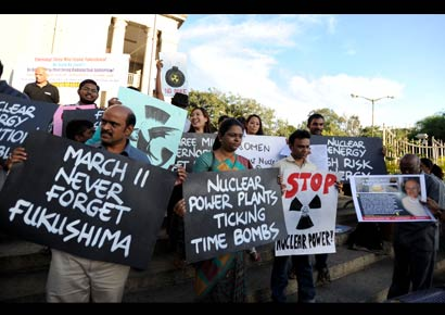 Members of New Socialist Alternative protest against nuclear power in Bangalore on Wednesday, October 24, 2012.