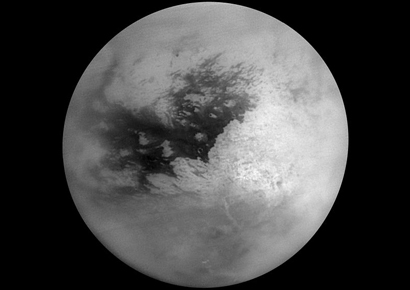 Mosaic of Titan from Cassini's February 2005 flyby.