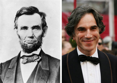 (File) A composite image of Abraham Lincoln (L) and actor Daniel Day-Lewis, who plays the American president in film <i>Lincoln</i>.
