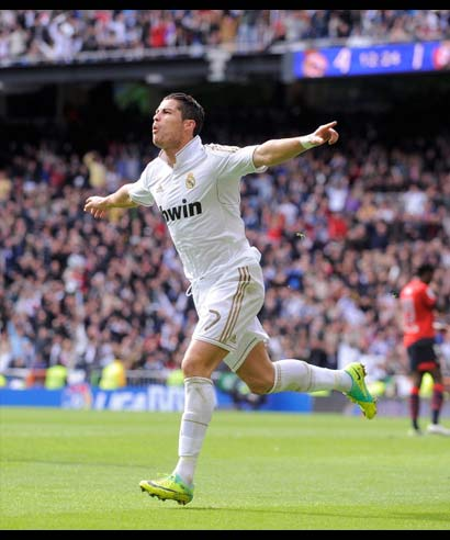 Real Madrid's Cristiano Ronaldo celebrates his goal.