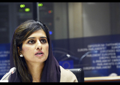 Pakistani foreign minister Hina Rabbani Khar addresses the Foreign Affairs Commission of the European Parliament in Brussels on December 3, 2012.