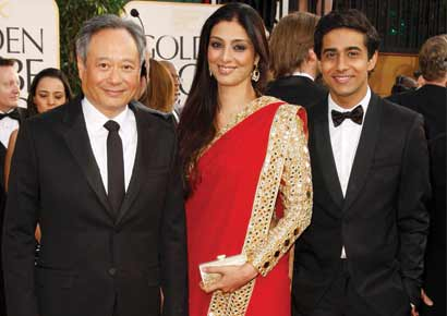 Ang Lee (L) with Tabu (C) and Suraj Sharma 