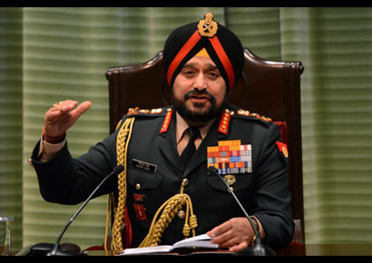 Army chief of staff General Bikram Singh ordered an 'aggressive' response to any cross-border firing by Pakistan at a press conference in New Delhi on Monday.