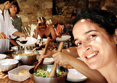 Sushama Reddy at a Communal Table in Italy