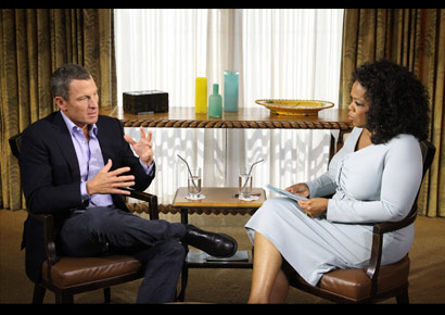 Cyclist Lance Armstrong being interviewed by Oprah Winfrey in Texas on Monday (January 14, 2012).