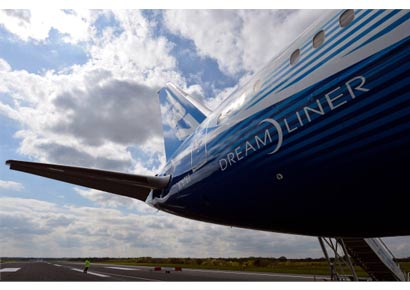 The new Boeing Dreamliner 787 sits on the tarmac at Manchester airport during it's tour of the world on April 24, 2012. Made of composite materials, the Boeing Dreamliner 787 uses 20% less fuel than equivalent aircraft.