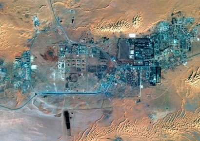 The gas plant and the town of In Amenas in Algeria is seen in this image taken by the SPOT 6 satellite, build and operated by Astrium, on January 8, 2013 released to Reuters by Astrium on January 19, 2013.