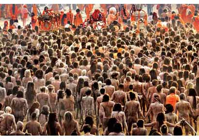 Sadhus congregate at the maha kumbh at Allahbad.